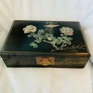 Vtg Hand Carved Stone Flower Overlay Jewelry Box